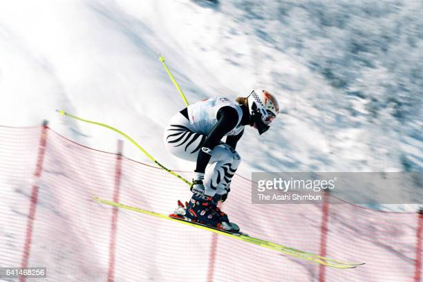 Katja Seizinger of Germany competes in the Alpine Skiing Women's Downhill during day nine of the Nagano Winter Olympic Games at Happoone on February...
