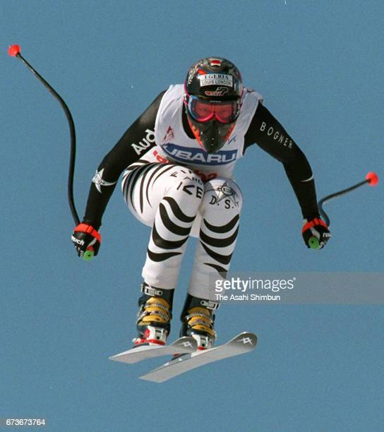 Katja Seizinger of Germany competes in the Women's Downhill during the FIS Alpine Ski World Cup Happo One on February 28 1997 in Hakuba Nagano Japan