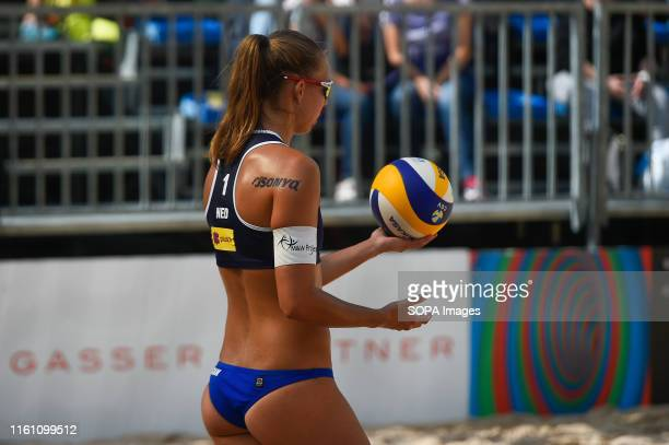 Katja Stam from Holland prepares to serve during the Quarter-Finals match of FIVB Beach Volleyball World Tour Star-1 tournament. Wouters/Stam won 2-0...
