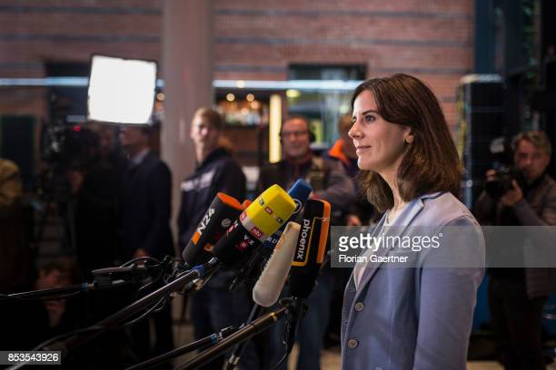 Katja Suding Federal CoChairwoman of the Free Democratic Party is pictured during a press statement before the presidium meeting the day after the...