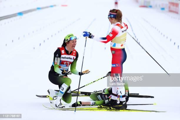 Katja Visnar of Slovenia and Anamarija Lampic of Slovenia celebrates after finishing second as Ingvild Flugstad Oestberg of Norway looks on following...