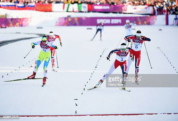 Katja Visnar of Slovenia, Maiken Caspersen Falla of Norway and Ingvild Flugstad Oestberg of Norway compete in the Finals of the Ladies' Sprint Free...