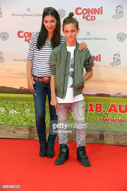 Katja Woywood and her son Niklas Woywood attend the 'Conni&Co' Berlin Premiere on August 13, 2016 in Berlin, Germany.