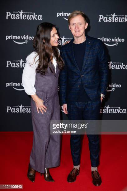 Katja Woywood and Pierre M Krause attend the premier of the Amazon series 'PASTEWKA' at Cinedom on January 23, 2019 in Cologne, Germany.