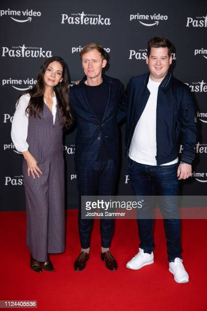 Katja Woywood, Pierre M Krause and Chris Tall attend the premier of the Amazon series 'PASTEWKA' at Cinedom on January 23, 2019 in Cologne, Germany.