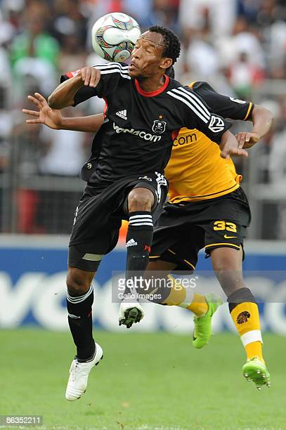 Katlego Mashego and Jeffrey Ntuka fight for the header during the Absa Premiership match between Orlando Pirates and Kaizer Chiefs from Coca Cola...