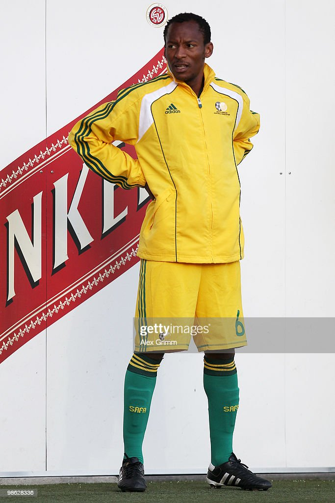 Katlego Mashego of South Africa warms up during the international friendly match between South Africa and North Korea at the Brita arena on April 22, 2010 in Wiesbaden, Germany.
