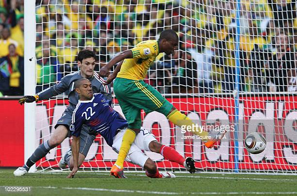 Katlego Mphela of South Africa scores during the 2010 FIFA World Cup South Africa Group A match between France and South Africa at the Free State...