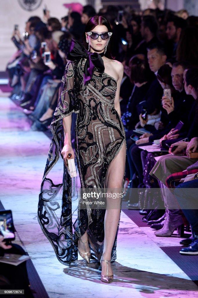 Katlin Aas walks the runway during the Elie Saab Spring Summer 2018 show as part of Paris Fashion Week on January 24, 2018 in Paris, France.