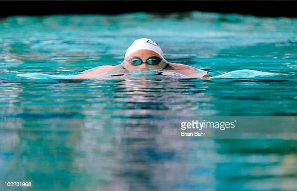 Katlin Freeman surfaces after her start in the womens 100 meter breaststroke prelims at the XLIII Santa Clara International Invitational a USA...