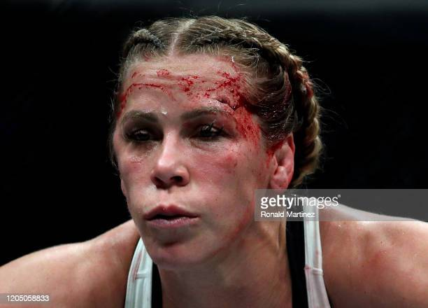 Katlyn Chookagian after being cut above the eye against Valentina Shevchenko in their Women's Flyweight Championship bout during UFC 247 at Toyota...