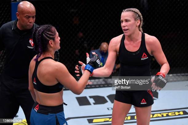 Katlyn Chookagian and Cynthia Calvillo interact after their women's flyweight bout during the UFC 255 event at UFC APEX on November 21, 2020 in Las...