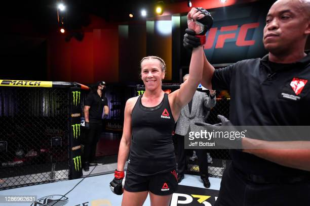 Katlyn Chookagian celebrates her victory over Cynthia Calvillo in their women's flyweight bout during the UFC 255 event at UFC APEX on November 21,...