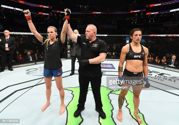 Katlyn Chookagian celebrates her victory over Mara Romero Borella of Italy in their women's flyweight bout during a UFC Fight Night event at Spectrum...