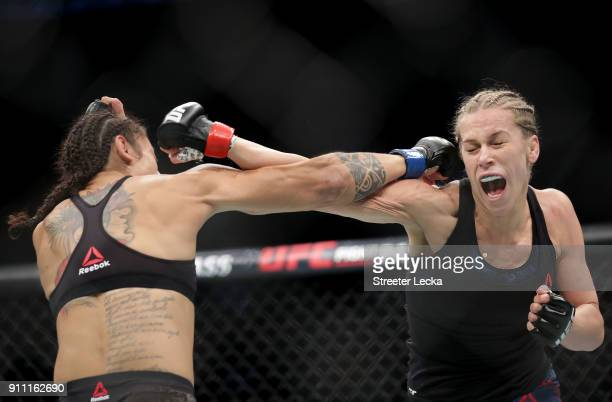 Katlyn Chookagian competes against Mara Romero Borella of Italy during UFC Fight Night at Spectrum Center on January 27 2018 in Charlotte North...