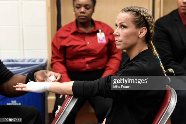 Katlyn Chookagian has her hands wrapped backstage during the UFC 247 event at Toyota Center on February 08 2020 in Houston Texas