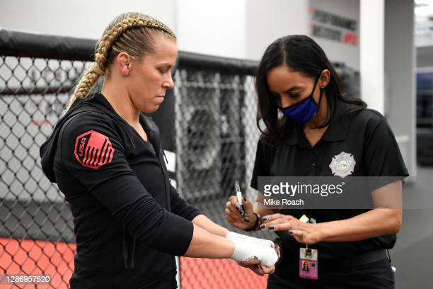 Katlyn Chookagian has her hands wrapped backstage during the UFC 255 event at UFC APEX on November 21, 2020 in Las Vegas, Nevada.