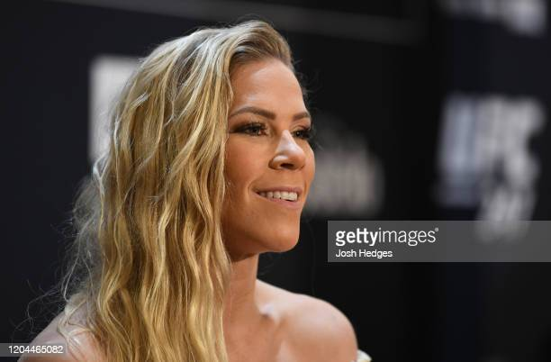 Katlyn Chookagian interacts with media during the UFC 247 Ultimate Media Day at the Crowne Plaza Houston River Oaks on February 06 2020 in Houston...