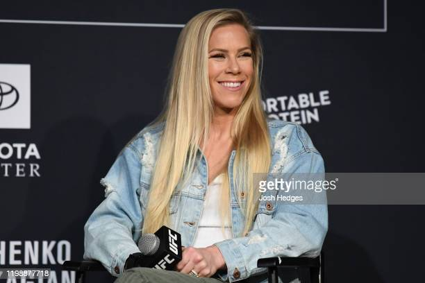 Katlyn Chookagian interacts with media inside the Ballroom at Bayou Place on February 5 2020 in Houston Texas