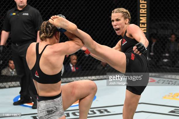 Katlyn Chookagian kicks Jennifer Maia of Brazil in their women's flyweight bout during the UFC 244 event at Madison Square Garden on November 02 2019...