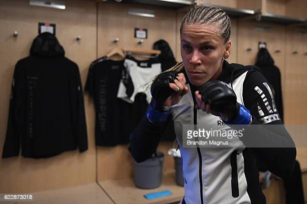 Katlyn Chookagian of the United States prepares for her bantamweight bout against Liz Carmouche of the United States during the UFC 205 event at...