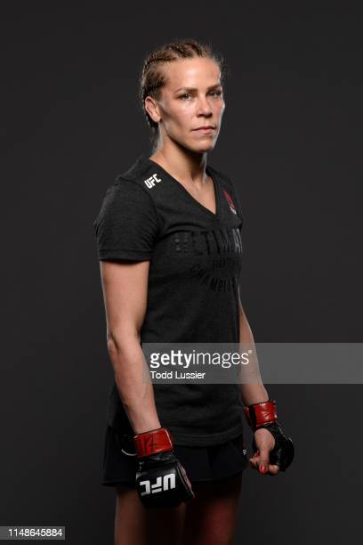 Katlyn Chookagian poses for a portrait backstage during the UFC 238 event at the United Center on June 8 2019 in Chicago Illinois
