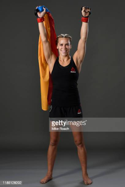 Katlyn Chookagian poses for a portrait backstage during the UFC 244 event at Madison Square Garden on November 02 2019 in New York City