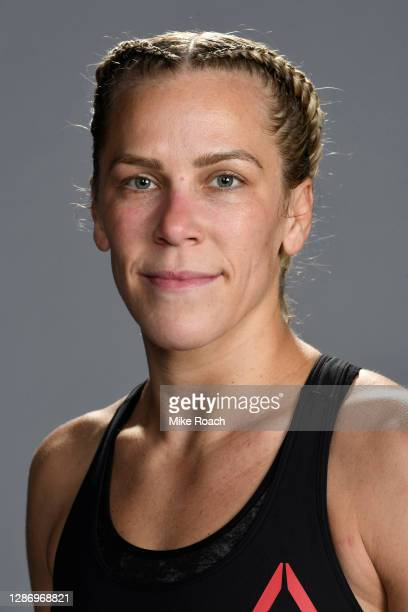 Katlyn Chookagian poses for a portrait backstage during the UFC 255 event at UFC APEX on November 21, 2020 in Las Vegas, Nevada.