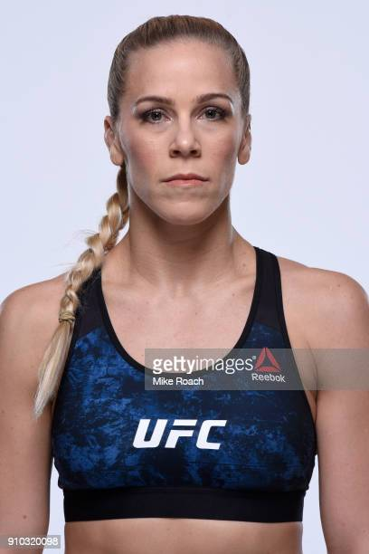 Katlyn Chookagian poses for a portrait during a UFC photo session on January 24 2018 in Charlotte North Carolina