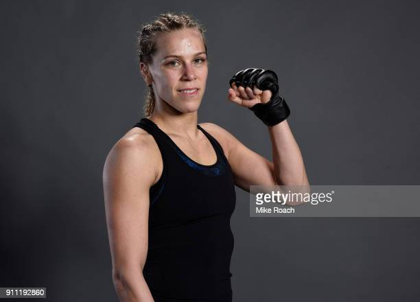 Katlyn Chookagian poses for a post fight portraits backstage during a UFC Fight Night event at Spectrum Center on January 27 2018 in Charlotte North...