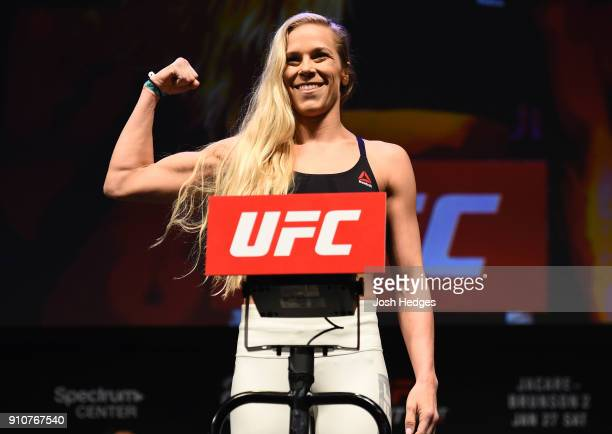 Katlyn Chookagian poses on the scale during a UFC Fight Night weighin on January 26 2018 in Charlotte North Carolina
