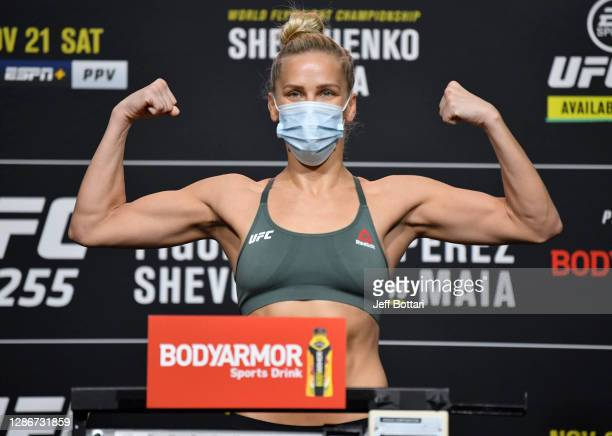 Katlyn Chookagian poses on the scale during the UFC 255 weigh-in at UFC APEX on November 20, 2020 in Las Vegas, Nevada.