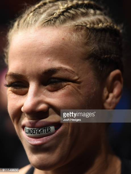 Katlyn Chookagian prepares to enter the Octagon before facing Mara Romero Borella of Italy in their women's flyweight bout during a UFC Fight Night...
