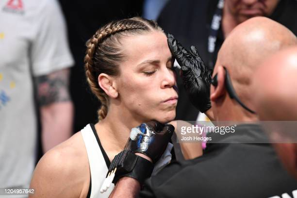 Katlyn Chookagian prepares to enter the Octagon prior to her women's flyweight championship bout against Valentina Shevchenko of Kyrgyzstan bout...