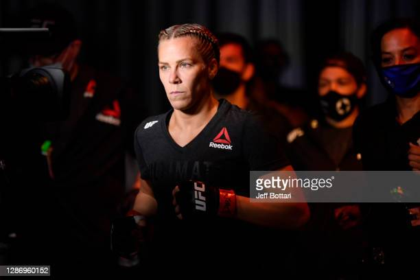 Katlyn Chookagian prepares to enter the Octagon prior to her women's flyweight bout against Cynthia Calvillo during the UFC 255 event at UFC APEX on...