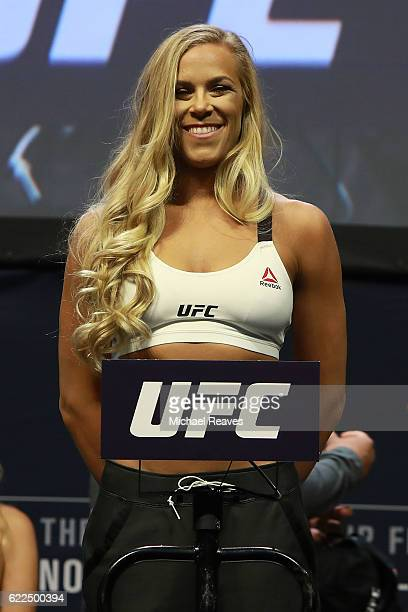 Katlyn Chookagian reacts during UFC 205 Weighins at Madison Square Garden on November 11 2016 in New York City