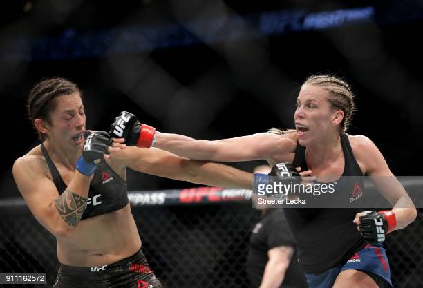 Katlyn Chookagian throws a punch against Mara Romero Borella of Italy during UFC Fight Night at Spectrum Center on January 27 2018 in Charlotte North...