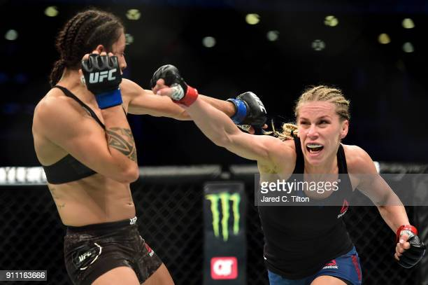 Katlyn Chookagian throws a punch against Mara Romero Borella of Italy in their flyweight bout during the UFC Fight Night event inside the Spectrum...
