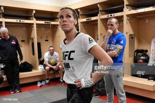 Katlyn Chookagian waits backstage during the UFC 247 event at Toyota Center on February 08 2020 in Houston Texas