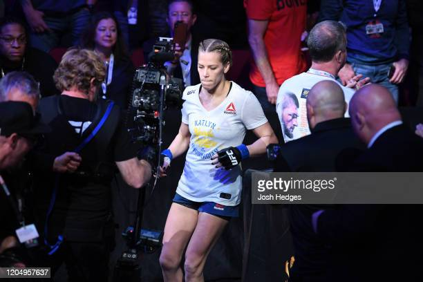 Katlyn Chookagian walks to the Octagon prior to her women's flyweight championship bout against Valentina Shevchenko of Kyrgyzstan bout during the...