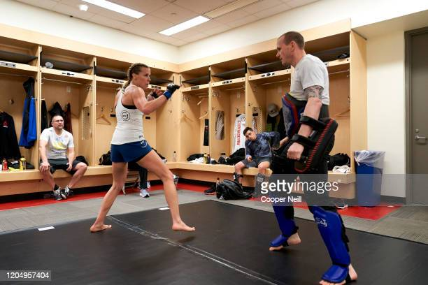 Katlyn Chookagian warms up backstage during the UFC 247 event at Toyota Center on February 08 2020 in Houston Texas