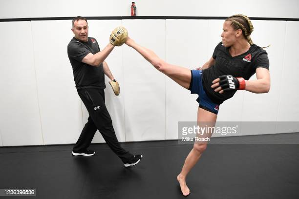 Katlyn Chookagian warms up backstage during the UFC Fight Night event at UFC APEX on May 30 2020 in Las Vegas Nevada