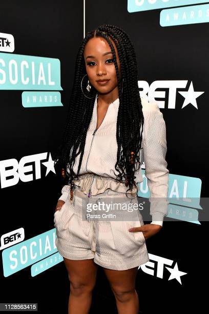 Katlyn Nichol attends the 2019 BET Social Awards at Tyler Perry Studio on March 3 2019 in Atlanta Georgia