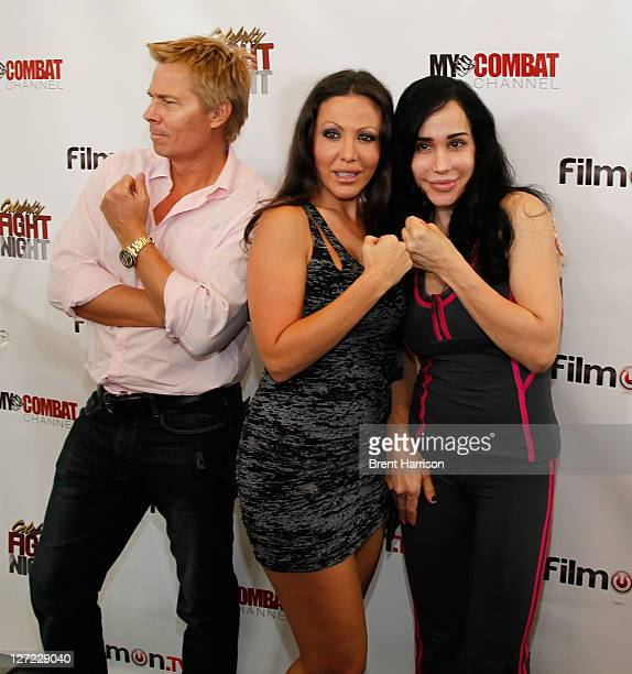 Kato Kaelin Amy Fisher and Nadya Octomom Suleman attend Celebrity Fight Night Official Press Conference at 9021GO Showroom on September 26 2011 in...