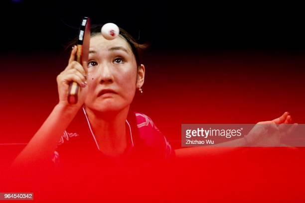Kato Miyu of Japan in action at the women's singles match compete with Doo Hoi Kem of Hong Kong China during the 2018 ITTF World Tour China Open on...