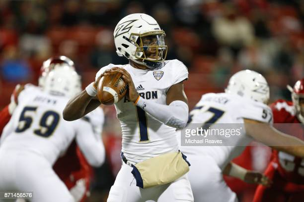 Kato Nelson of the Akron Zips looks to pass against the Miami Ohio Redhawks during the first half at Yager Stadium on November 7 2017 in Oxford Ohio
