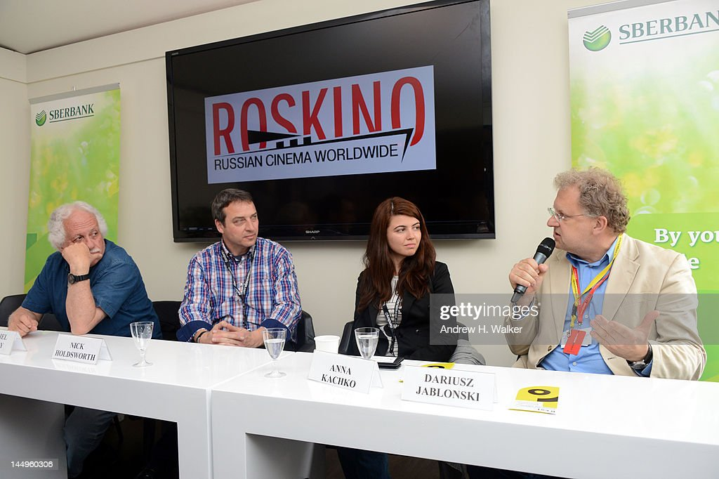 Katriel Schory, Nick Holdsworth, Anna Kachko and Dariusz Jablonski attend the Russian Film Panel during the 65th Annual Cannes Film Festival at the Russian Pavillion on May 21, 2012 in Cannes, France.