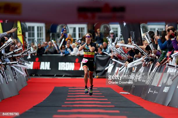 Katrien Verstuyft of Belgium celebrates as she wins the womens race during IRONMAN 703 Weymouth on September 17 2017 in Weymouth England
