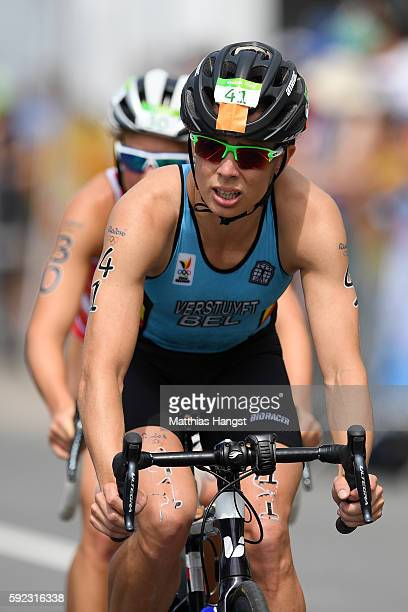 Katrien Verstuyft of Belgium rides during the Women's Triathlon on Day 15 of the Rio 2016 Olympic Games at Fort Copacabana on August 20 2016 in Rio...
