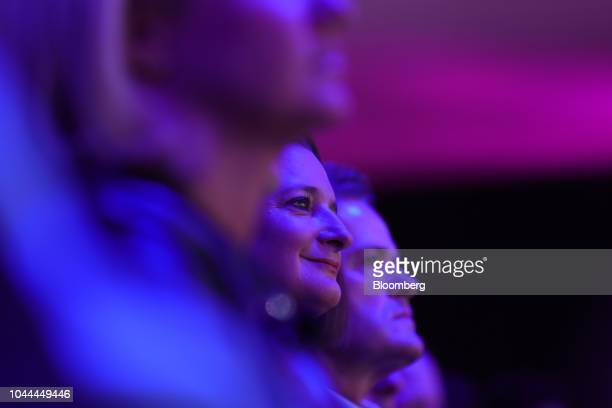 Katrin Adt chief executive officer of Daimler AG's Smart brand sits in the audience during a news conference at the Paris Motor Show in Paris France...